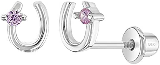 925 Sterling Silver Girls Pink Cubic Zirconia Lucky Horseshoe Screw Back Earrings - Fun and Stylish Stud Earrings - Perfect for Toddlers, Young Girls & Pre Teens, Horse Lover Kids