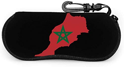 Ultralicht brillenetui met Marokkaanse vlag met karabijnhaak, zacht brillenetui met waterdichte ritssluiting.