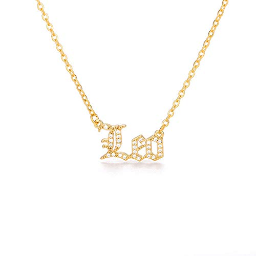 BLUESTEER Zircon Necklace 12 constellation zodiac crystal English letter jewelry gold chain letter choker necklace is female