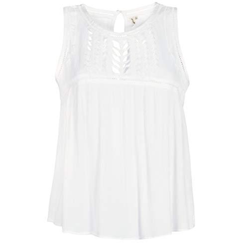 Rip Curl Aurora Top Mujer,Camiseta sin Mangas, Camiseta, Escote Redondo, Encaje,Off White,M