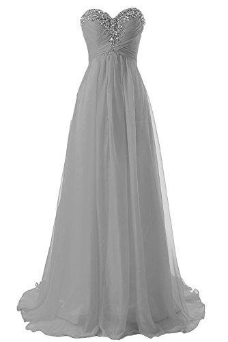 Abendkleider Ballkleider Lang Damen Brautjungfernkleid Festkleider Chiffon A Linie Silber EUR46