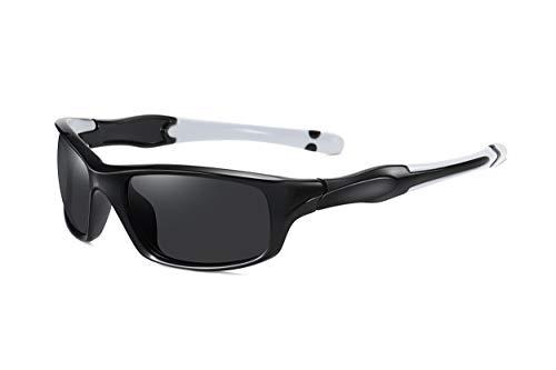 SKILEC Gafas de Sol Hombre Mujer Polarizadas TR90 - Gafas Running, Gafas Ciclismo Hombre ideales para Deporte, MTB, Golf, Bicicleta Gafas de Sol Deportivas Protección 100% UV400 (Negro Blanco/Negro)