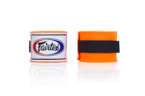 Fairtex Elastic Cotton Handwraps HW2-120 and 180'- Full Length Hand Wraps. Many Colors (Orange, 120 inches)