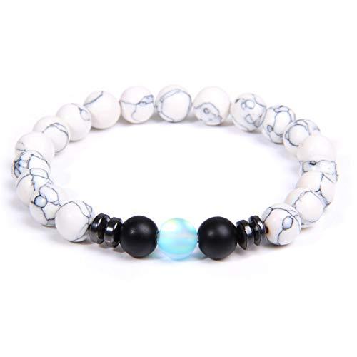 N/A Aniversario Pulsera de Cuentas de turquesas de Piedra Natural, Pulsera de Perlas de hematita de Piedra Lunar de 8mm, joyería de Yoga para Mujeres y Hombres, Regalos