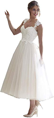 Elliebridal Vintage Princess Women's Bridal Ball Gown A-line Wedding Dresses with Lace Tulle Tea Length for Bride Ivory