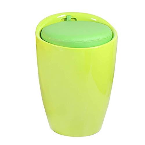 GST Taburetes multifuncionales Cambio de Zapatos y vestidor Taburete Sofa Taburete Almacenamiento Uso de un Zapato Reposapies Barril Silla Taburete de Almacenamiento (Color: Verde)