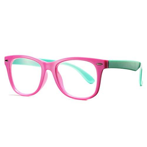 COASION Kids Clear Glasses for Little Girls Boys, Geek Fake Nerd Eyeglasses for Costume (Age 3-12) (Pink)