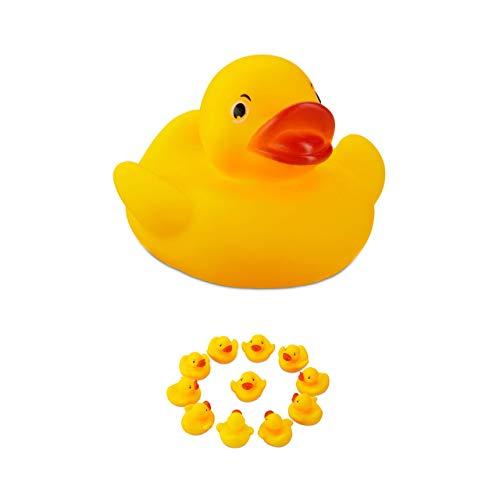 Relaxdays 10024283, gelb Badeente 5cm 12er Set, klassisches Quietscheentchen für die Badewanne, Badespielzeug für Groß und Klein