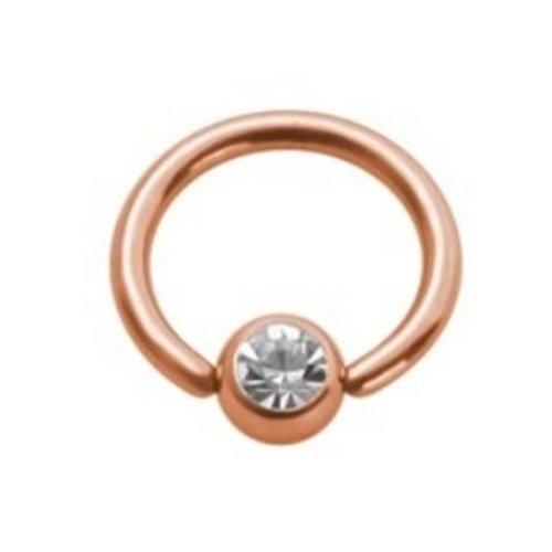 eeddoo Piercing-Ring Klemmring Kristall Rosegold Edelstahl Stärke: 1,6 mm Durchmesser 12 mm Ball 5 mm CC - Kristallklar