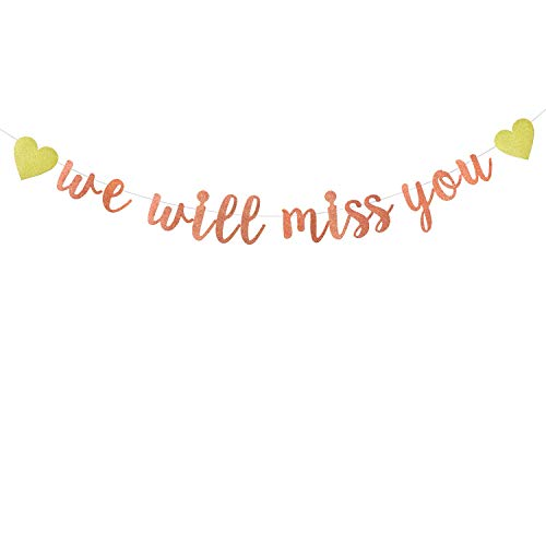 Rose Gold Glitter We Will Miss You Banner-Retirement Party Decorations Sign-Going Away Party Decor-Farewell Party Decorations-Office Work Party Decorations
