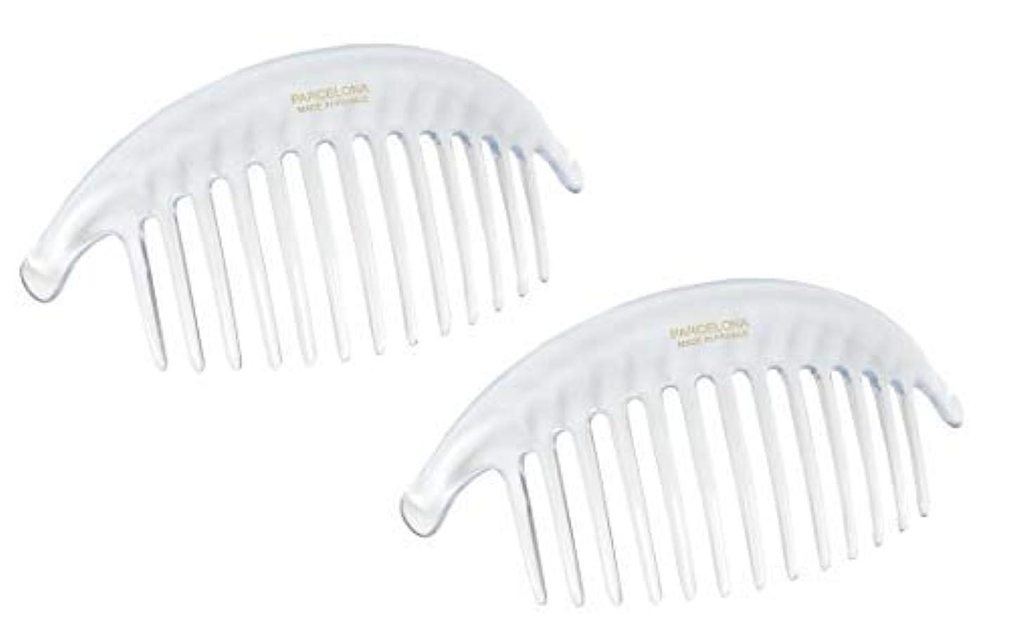 スーツミス正しくParcelona French Alice Large Set of 2 Clear 13 Teeth Celluloid Acetate Interlocking Side Hair Combs [並行輸入品]