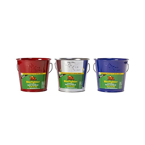 Lamplight Farms 1418094 Bitefighter Citronella Wax Candle Metal Bucket, Red, Blue or Galvanized, 17-oz. - Quantity 1