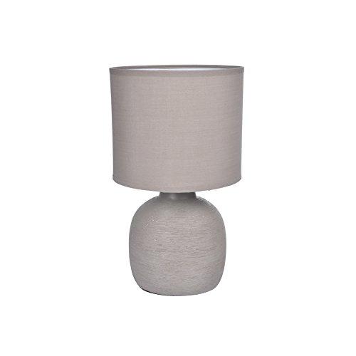 Homea Keramik Tischlampe 33cm Tischleuchte Stein Optik (Taupe)