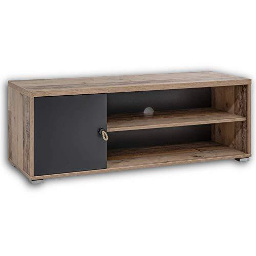 Stella Trading Merlin - Mueble bajo, Estilo Antiguo Antracita, Ancho/Alto/Profundo: Aprox. 120/43/42 cm.
