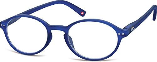 Montana Eyewear Sunoptic MR74C +2.00 Lesebrille in blau, inklusive Softetui, transparent
