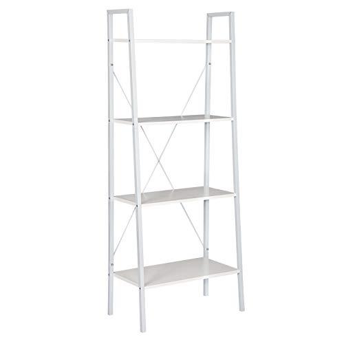 WOLTU Estantería Escalera Librería Organizador Multifuncional con 4 Estantes para Sala de Estar Blanco RGB9283ws