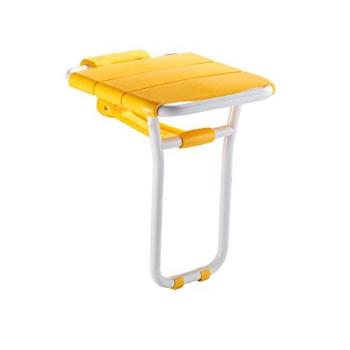 ZTMN Douchekruk, badkamerstoel, opvouwbaar, antibacterieel, hulpmiddel voor badkamer, met stempel, max. 200 kg, badhulp (geel).