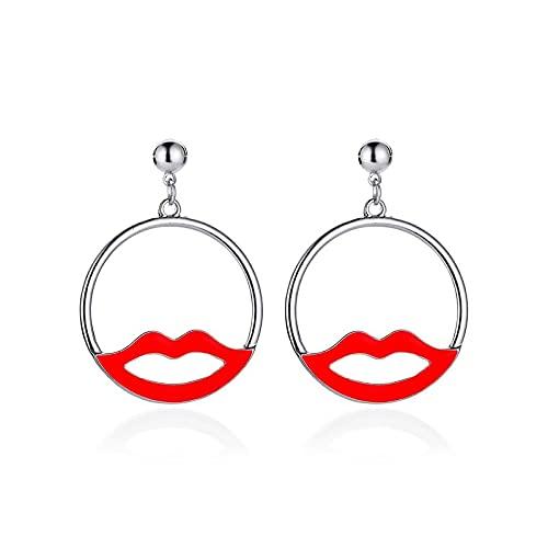 DFDLNL Pendientes de Oreja con Labios Rojos Huecos Pendientes Redondos de diseño Simple para Mujer Plata