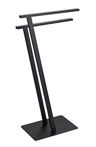 WENKO Toallero de pie Lirio negro mate - Perchero de pie, Metal, 20 x 76.5 x 40 cm, Negro