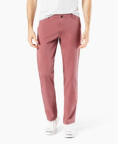 Dockers Men's Slim Tapered Fit Downtime Khaki Smart 360 Flex Pants, Washed Red, 36 32
