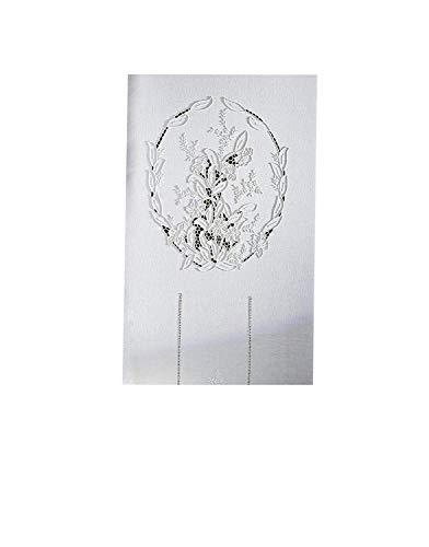 Zenoni & Colombi Coppia di Tende Ricamate a Mano Odessa Made in Italy Misto Lino Varie Dimensioni (45x180)
