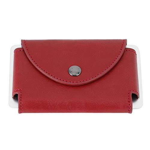 Titular de la Tarjeta de crédito - Retro Men Leather ID RFID Titular de la Tarjeta de crédito Protector Money Wallet Clip Card Case(Rojo)