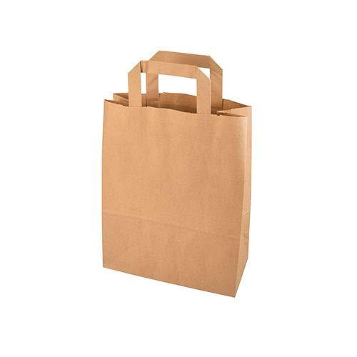 DeinPack Umweltschonende Papier Tragetaschen klein I Papiertüten Geschenktüten Papiertragetaschen biologisch abbaubar, kompostierbar I 50 x braune Papier Tüten 22 x 10,5 x 30 cm