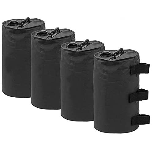 Metikkeer Paquete de 4 pesas de agua para carpa resistente 500D Oxford de tela de pierna para toldo emergente, toldo de campaña, paraguas, bolsa de pies con peso negro