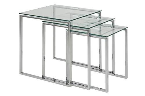 AC Design Furniture Satz Jannis, B: 50 x T:50 x H: 55 cm, Glas, Klar