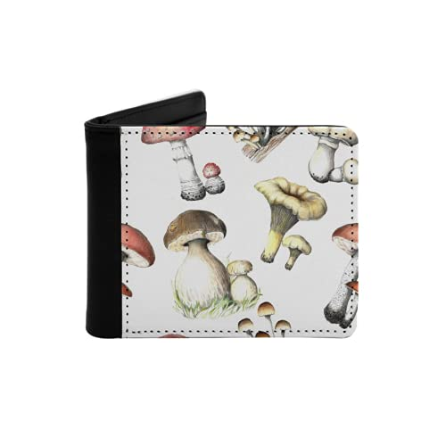 Men's Leather Slim Wallet,Pencil Drawing Mushrooms Pattern. Seamless...