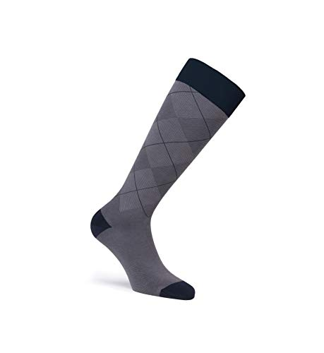 JOBST Casual Pattern Compression Knee High Socks, Closed Toe, 30-40 mmHg Extra Firm Support for Swollen Legs, Gunmetal Grey, Size: Large, Petite Length