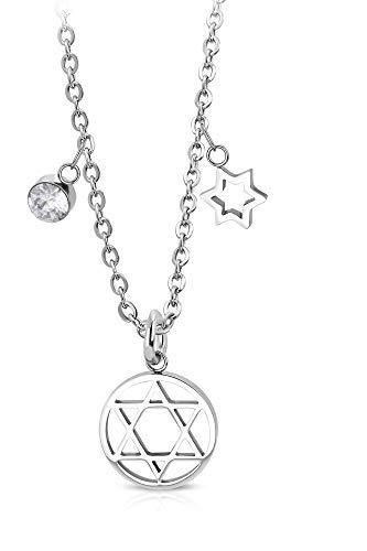 Tata Gisèle - Collar de acero inoxidable plateado con estrella de David y abalorios