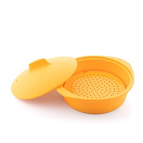 InnovaGoods   Vaporera de silicona multifunción con receta Silicotte   Color Naranja
