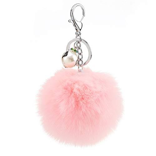 Schlüsselanhänger plüsch Ball Charm Perle DIY Mode Plüsch-Kugel Pompom Süß Weich Schlüsselring bommel Keychain Autoschlüssel-Anhänger Handtaschenanhänger Dekor Geschenke (# 8)