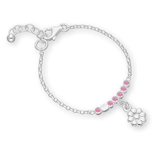 butterfly chica pulsera de plata Plata 925 Flor rosa Longitud flexible papel de regalo Regalo de bautizo