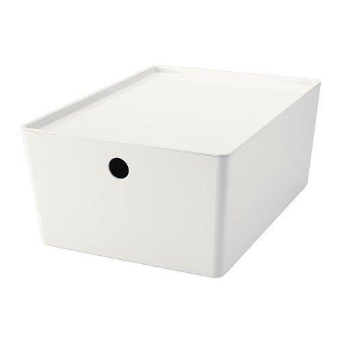 IKEA KUGGIS Box mit Deckel; in weiß; (26x35x15cm)