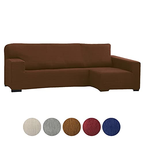 Grupo Fomento Directo - Funda para Sofá Chaise Longue, Funda protectora de sofá en Forma de L de Tela elástica (Chocolate, Derecha)
