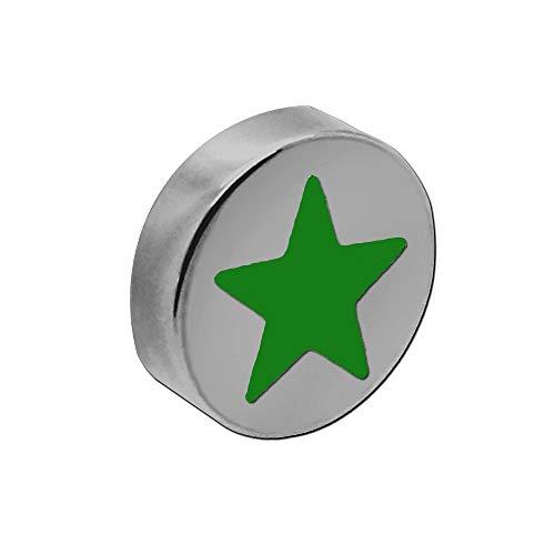 tumundo Magnete Magneti Adesivi Motif Star Colorato Stella Ø 10mm Frigo Scuola Tavagna Ufficio Acciaio, Pezzi:10 Pezzi - Verde