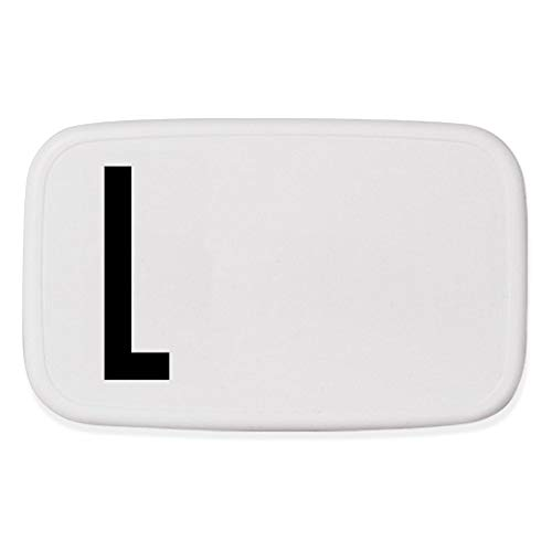 Design Letters personal caja de almuerzo (Blanco) - L - Sin BPA y BPS, De la A a la Z, Ideal para la escuela o el trabajo, Fácil de abrir, Para adultos y niños, 154 g, W: 18 x H: 6.5 xl: 11cm