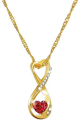 NC190 Romántico Rojo en Forma de corazón Colgante de circón Collar Creativo geométrico número 8 Cadena de clavícula de Oro joyería de Fiesta de Moda para Mujer
