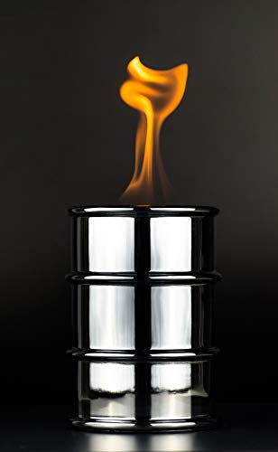 sompex Öllampe Barrel Feuertonne für Brenngel in Chrom 3316 kleines Lagerfeuer zum mitnehmen Barrel Tischfeuer Gaarten