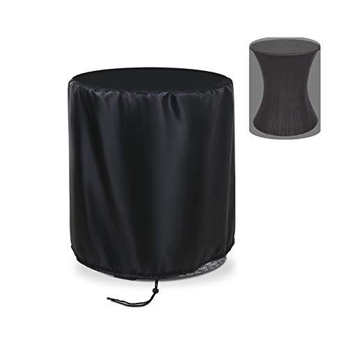 Flymer Small Round Table Cover for Keter 7.5-Gal Cool Bar, Patio Rattan Stool Cocktail Cooler Table Cover, Waterproof Sunproof Garden ice Bucket Cover, Black (Φ50x57)