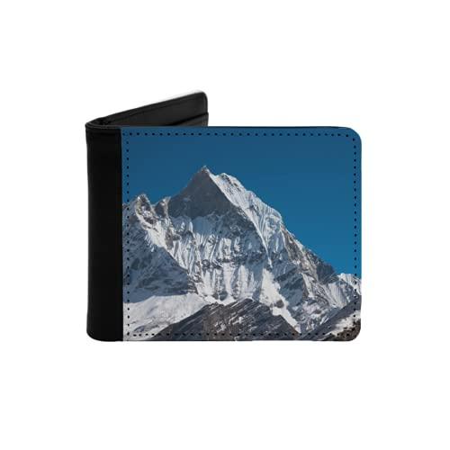 Cartera Delgada de Cuero para Hombre,Monte Machhapuchchhre Annapurna Himal Nepal,Cartera Minimalista con Bolsillo Frontal Plegable
