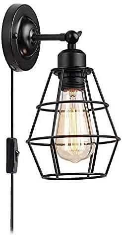 Lámpara de pared E27, retro, industrial, ajustable, con cable de tela e interruptor