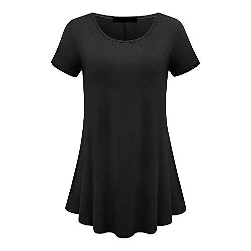 JCZX Primavera OtoñO Nueva Falda Corta Simple Cuello Redondo para Mujer Vestido De Talla Grande