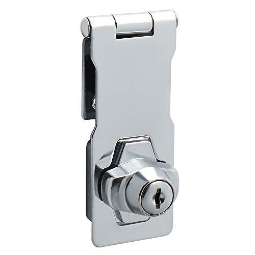 Sayayo EMS1100C-4 Schnappschloss 10,1 cm, 2 Schlüssel inklusive, aus Edelstahl verchromt, silber