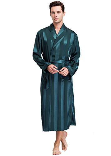 LONXU Herren Satin Bademantel Green Striped 3XL