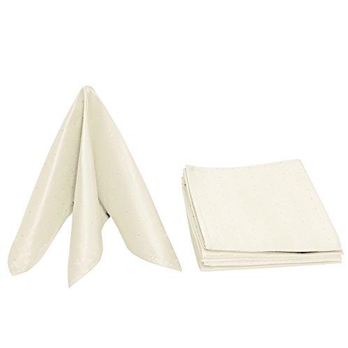 Meine-Tischdecke - Servietten Punkte Kollektion Stoff Serviette Mundservietten Maßanfertigung im Punktedesign 6er Set Eckig 40 x 40 cm in Creme