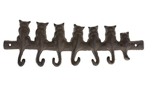Colgador de pared de hierro fundido para 7 gatos – percha de ropa decorativa de hierro fundido – diseño clásico con 4 ganchos – montado en la pared | 31,5 x 9,9 cm – con tornillos y anclajes