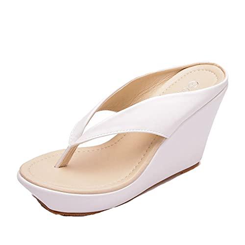 Chanclas de cuña para Mujer, Zapatos de Plataforma Antideslizantes de Leopardo a la Moda, Deslizadores sin Cordones, Sandalias cómodas de Ocio con Correa